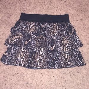Leopard and snake print stretchy mini skirt